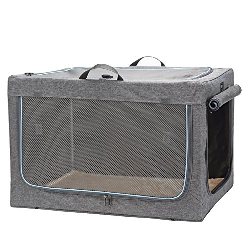 101mart Premium Soft-Sided Foldable Dog Crate | Portable Pet Kennel for Home and On The Go | Made from Heavy-Duty Water-Resistant Canvas Fabric | Perfect for Indoor and Outdoor Use | Size Large
