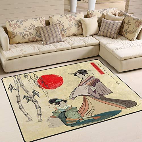 Use7 Japanese Geisha Girl Bamboo Area Rug Rugs for Living Room Bedroom 160cm x 122cm(5.3 x 4 feet)