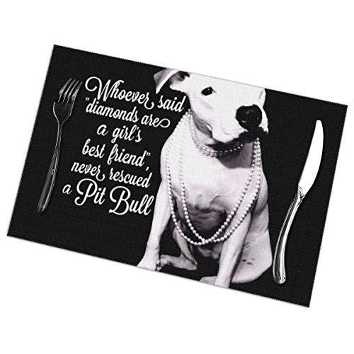 Mantel individual con aislamiento térmico de PVC, resistente a las manchas, lavable, para cocina, comedor, restaurante, hotel, mesa, antideslizante (6 piezas, Pitbull Pit Bulls Dog Black Mat)
