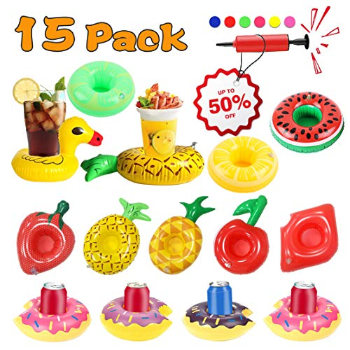 15 Pack Inflatable Drink Holders for Pool Inflatable Beverage Cup Coasters Summer Water Fun Party Favors Pineapple Flamingo Float Drink Holder for Baby Kids Toddlers Teens Adults with Free Air Pump