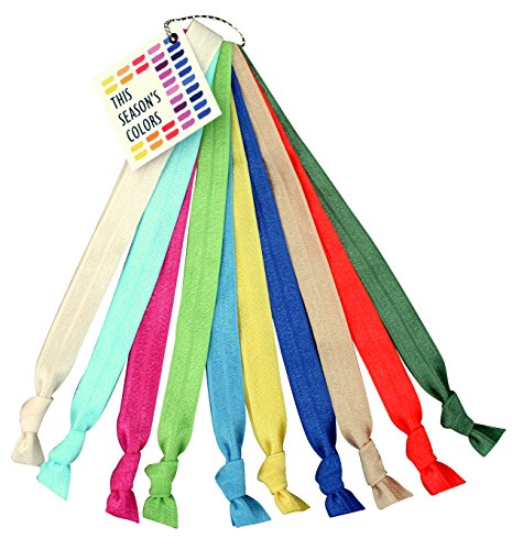 Spring/Summer No Crease Elastic Headband Hair Ties by THIS SEASONS COLORS; 5/8 Wide, Soft Stretch, Adjustable size: Sports, Casual, Yoga; Set of 10 Fashionable Colors (Bold Spring)