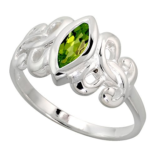 Sterling Silver Celtic Motherhood Symbol Knot Ring with Natural Peridot, 3/8 inch Wide, Size 6