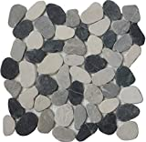 Interlocking Pebble Floor Tiles (5-Pack) Kitchen, Bathroom, and Patio Flooring | Indoor and Outdoor Use | Natural Black Grey Tan Red Stones | Quick and Easy Grout Installation
