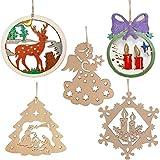 Adornos navideños Kit de adornos para árboles de Navidad de madera, 50 piezas 3.1-3.9 pulgadas madera natural sin terminar Pretaladrado con agujeros Adornos tallados en madera colgantes Decoración