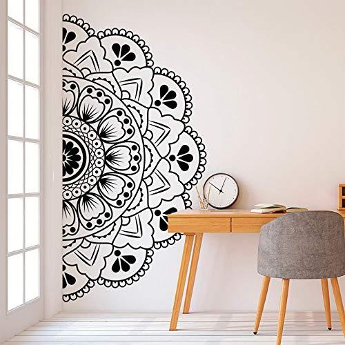 AKmene Adesivo Wall Stickerse testiera Half Mandala Zen Lotus Adesivo in Vinile per Finestra per portiera 42X85cm