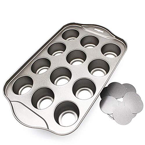 Vaugan 12 Mini Torta Vassoio, Cheesecake Coppa Antiaderente Muffin Cupcake Cottura Al Forno Teglia di Latta