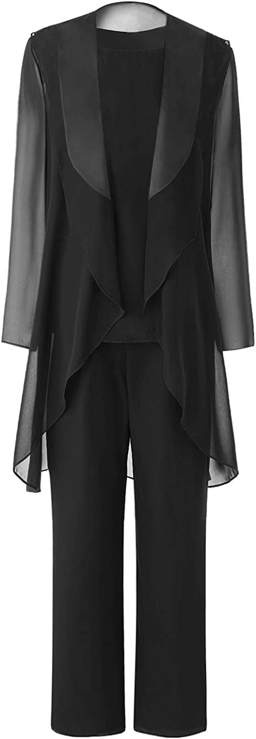 Pretygril Women's 3 Piece Mother Of Bride Dress Pant Suits With Shawl Lapel Jacket For Wedding