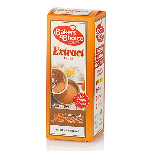 Almond Extract, 4 oz. - No Sugar Added - Artificial Flavored Baking and Cooking Ingredient - No Gluten, Non Dairy, Kosher - By Baker's Choice