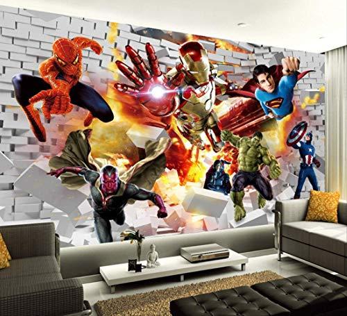 Avengers Wallpaper 3d-fototapete Hulk Iron Man Superman Wandbild Boy Schlafzimmer Ziegel Tapete Für Wände Tv Hintergrund Dekor Breite200cm * Höhe200cm