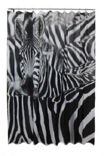 Acus Textiles Fotoprint Textil Duschvorhang Zebra BxH 180x200cm | Motiv: Zebra in schwarz weiß | Waschbar