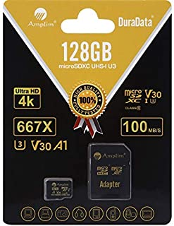 Amplim 128GB Micro SD SDXC V30 A1 Memory Card Plus Adapter Pack (Class 10 U3 UHS-I Pro MicroSD XC) 128 GB Ultra High Speed...