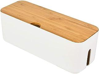 Charity 改良版 北欧インテリア ケーブルボックス ケーブル 収納ボックス テーブルタップ 配線ボックス 電源コード/ケーブル/コンセント等保管ケース 配線口がある 配線整理 放熱性が抜群 天然木&樹脂製 ホワイト