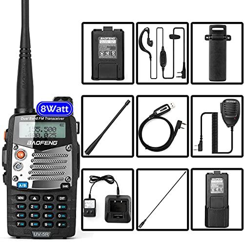 BaoFeng (UV-5R Pro) Ham Radio Handheld Walkie Talkies UHF VHF Dual Band 2-Way Radio Full Kit with an Extra 3800mAh Battery, Earpiece and Programming Cable (1 Pack)
