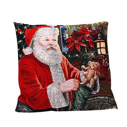 Superper Christmas Flower Santa Snowman Garland Throw Pillow Case Office Sofa Blanket Cover Home Decor Holiday B