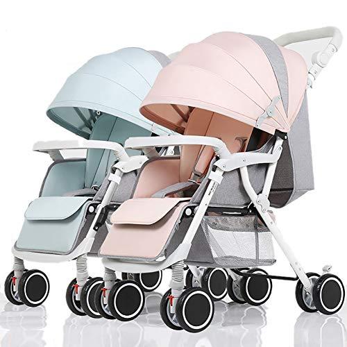 Poussetter Yhz jumelle de bébé, Chariot léger Nouveau-né de Suspension détachable et Pliable (Couleur : Mint Green+Pink)