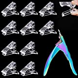 MIKIMIQI 10 Pcs Poly Gel Quick Building Nail Tips Clips Transparent Finger Extension UV LED Builder Nail Tips Clip with 1 Pc Acrylic Nail Tips Clipper Trimmer Cutter for Quick Building DIY Manicure