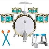 Drum Gtf Instrumento Musical/Juego Grupo de Percusión/Jazz, 5 Tambores, Silla, Pedal de Bombo, 2 Palillos, Heces, Educación Musical Instrument a Jazz Drum Set Niños