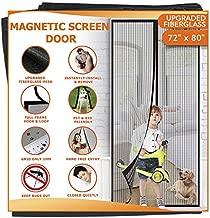 Meiz Upgraded Fiberglass Magnetic Screen Door Mesh, Self Closing Quick Door Screen Bug Door Net Snap Screen Curtain for Garage, Doorway, Patio, Pet and Kid Friendly - Fits Doors up to 70 x 79 Inches
