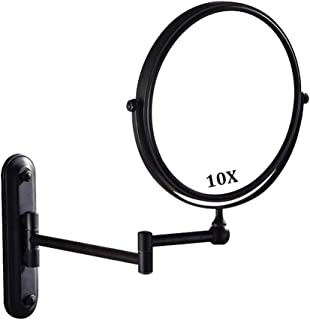 Makeup Mirror, Bathroom Mirrors Wall Mounted Black with 10x Magnification, Double-Sided Makeup Mirrors Magnifying for Bathroom, 360° Free Rotation, Extendable for Home, Spa and Hotel