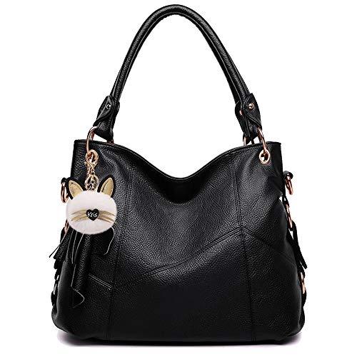 KrisAnna Damen Schultertaschen mit Quaste und Schulterriemen Umhängetasche Hobo Handtasche Schwarz EINWEG