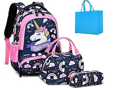 Mochila Unicornio Niña Mochilas Escolares Niña Mochilas Infantiles Mochila Niña Primaria con Bolsa para Almuerzo y Estuche de Lápices