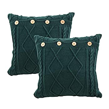 MH MYLUNE HOME Pack of 2 Dark Green Decorative Knitted Throw Pillow Covers Cable Knitting Square Warm & Cozy Sofa Pillow Case Cushion Covers 18x18 inches