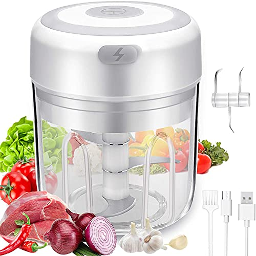 Electric Mini Garlic Choppers Wireless Portable Food Chopper Enhanced Power 3 blades for Fruits Vegetables/Nuts/Pepper/Ginger/Salad - Kitchen gadget(250ML)