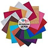 QuuCut Holographic Heat Transfer Vinyl Variety Pack : 10' x 12', Sheets 15 Colors Assorted Pack Iron on HTV Vinyl for Any Plotter/Silhouette Cameo/Cricut & Heat Press Machine