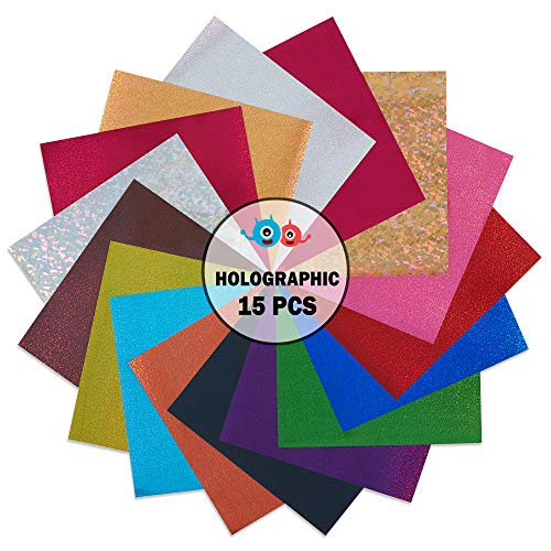 QuuCut Holographic Heat Transfer Vinyl Variety Pack : 10 x 12, Sheets 15 Colors Assorted Pack Iron on HTV Vinyl for Any Plotter/Silhouette Cameo/Cricut & Heat Press Machine