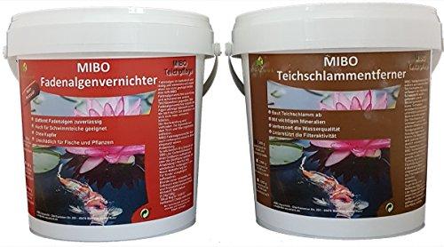 MIBO-Aquaristik Fadenalgenvernichter+Teichschlammentferner Set 2x1 Kg Gartenteich Fadenalgen Stopp Teich Schlammentferner für 30.000/60.000 Liter