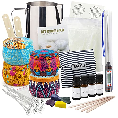 Candle Making Kit DIY Scented Candles Making Supplies with 28oz Beeswax, 4 Tins, 4 Fragrances, Dyes, Other Tools, Complete Arts Crafts Gift Set for Her, Women, Adults, Kids, Teacher, Birthday