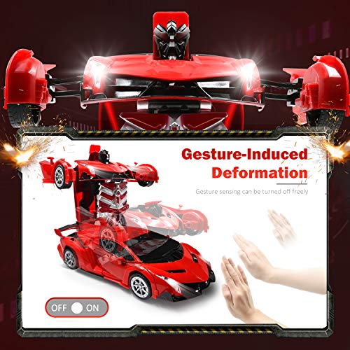 Best Gifts for Boys Girls RC Car for Kids Transform Car Robot Remote Control Super Car Toys with Gesture Sensing One-Button Deformation and 360/°Rotating Drifting Light Music 1:14 Scale Red