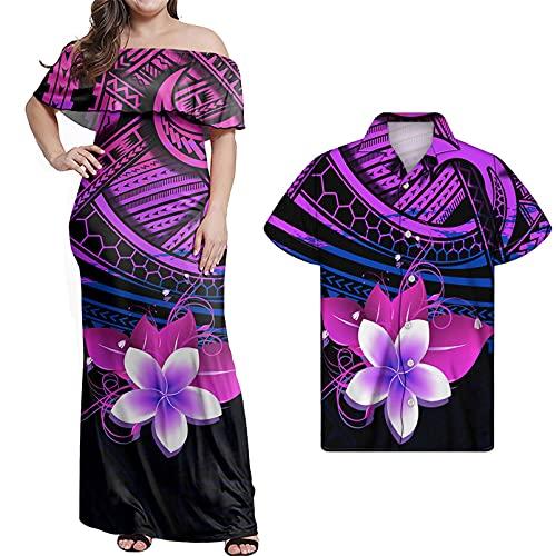 Vestido Largo de Verano para Mujer, Conjunto de Camisa Informal para Hombre, Conjunto de Camisa Sexi para Mujer, Bata Midi con Hombros Descubiertos y Estampado polinesio