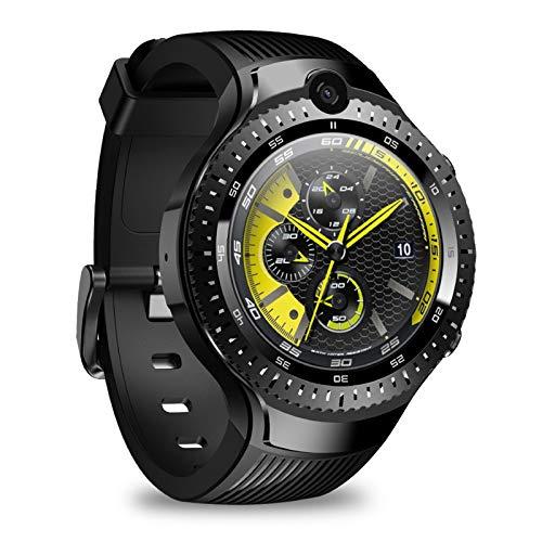 QZH Smart Watch 4G, 1GB RAM 16GB ROM, 1,4'IPS Smart Clock Pantalla Grande con cámara Dual 530mAh batería IP67 Rastreador de Fitness Impermeable para Mujeres y Hombres