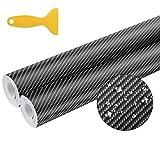 Seamuing Carbono Adhesivo, 3D (2 Rollos) Vinilo Carbono Fibra Impermeable con Raspador del Coche de Fibra de Carbono Vinilo 300 cm X 30 cm para Embalaje de Coche Negro