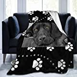 MJKII Throw Blanket, Black Lab Labrador Pattern Flannel Blanket for Kids Daughter Son Baby - Super Soft, Warm, Plush, Lightweight, All Season - Perfect for Bed, Sofa(50'' x40)