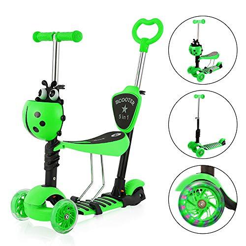 YOLEO 5-in-1 Kinder Roller Scooter mit Abnehmbarer Karikaturkorb Sitz Schubstange LED große Räder Bequeme Rückenlehne Höheverstellbare Lenker für Kleinkinder Jungen Mädchen ab 2 Jahre (Grün)