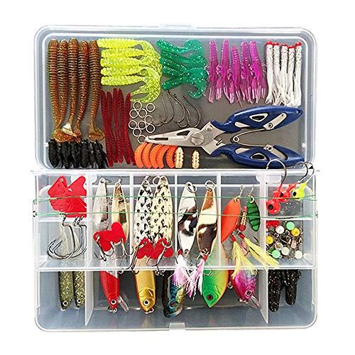 Gobesty Juego de señuelos de Pesca, Kit de fabricación de señuelos de Pesca Regalos de Pesca para Hombres con Caja de Aparejos de Pesca VIB Topwater Diving Señuelos flotantes Set de señuelos Suaves