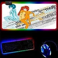 マウスパッド 90X40Cm拡張大型Rgbゲーミングマウスパッドアニメ新世紀エヴァンゲリオンマウスパッド速度を上げる厚いゴム製キーボードパッド防水光るワイヤレスマウスマットゲーマー2Xl (B)