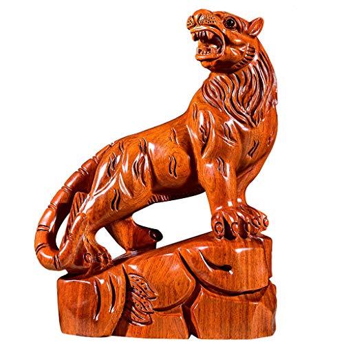 ZHJYDD BJDSZHSHP Adornos de Tigre Tallado en Madera Feng Shui Town House Afortunado Tallado artesanías Tigre Xiaoshan Bosque Muebles para el hogar Adornos de Caoba