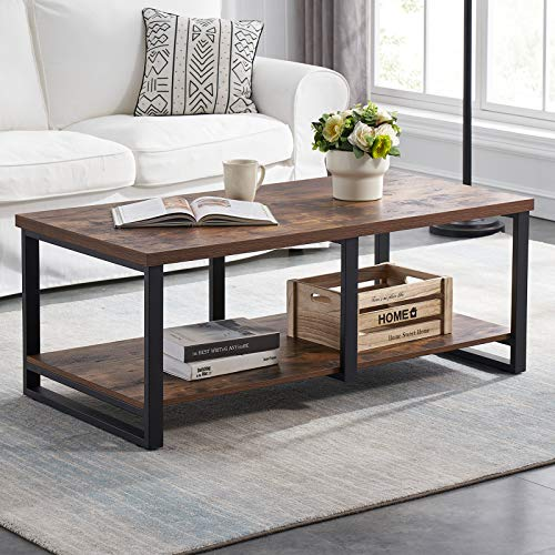 MHAOSEHU Industrial Coffee Table for Living Room, Sturdy Wood and Metal Cocktail Table with Open Storage Shelf, 47 inch Rustic Brown