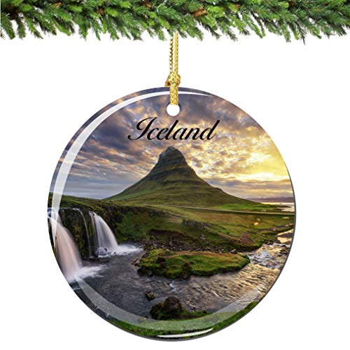 City-Souvenirs Iceland Christmas Ornament Porcelain Double Sided 2.75 Inches