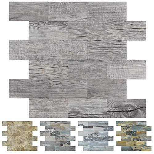 Art3d Wandfliesen zum Abziehen und Aufkleben, graue Holzmaserung, 5 Stück, 34,3 x 29 cm, für Küchenrückwand, Badezimmerdekoration, Kamin und Treppenerhöhung, Aufkleber aus PVC-Verbundlaminat