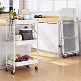 Carrito de servicio de metal, 3 capas, carro multiusos con cesta, carro de cocina con freno, para cocina, oficina, jardín (color: blanco)