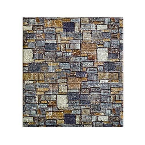 Foam brick wall panels Brick Effect Wallpaper 70*77cm 3D Personalized Wallpaper Self-adhesive Stickers For Dorm Bedroom Vintage PVC Brick Paste For Bar Coffee Shop ( Color : Stone , Size : 10pcs )