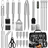 POLIGO 29PCS BBQ Grill Utensils Set - Stainless Steel Grilling Accessories with Bag for Smoker, Camping, Kitchen - Premium Barbecue Tools Kit Ideal Grilling Gifts for Men Women on Birthday Christmas