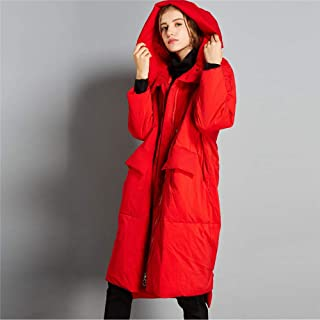 YJF-JK Down Jacket Women Thickened with Hood Solid Color Long Irregular Temperament Women's Down Jacket(Most Wished &Gift Ideas),Red,L
