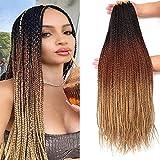 7 Packs 26 Inch Medium Goddess Box Braids Crochet Hair Extensions Synthetic Hair Crochet Braids Kanekalon Jumpo Braiding Hair 3 Tone Ombre Brown Color (26 Inch, 1B/30/27)