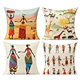 All Smiles Kissenbezug 45x45cm 4 Stück Afrikaner Afrika Tiere Nationale Merkmale Stamm draußen Leinen Dekorative Kissenhülle Zierkissenbezüge für Sofa Schlafzimmer Wohnzimmer Auto Zuhause Dekoration