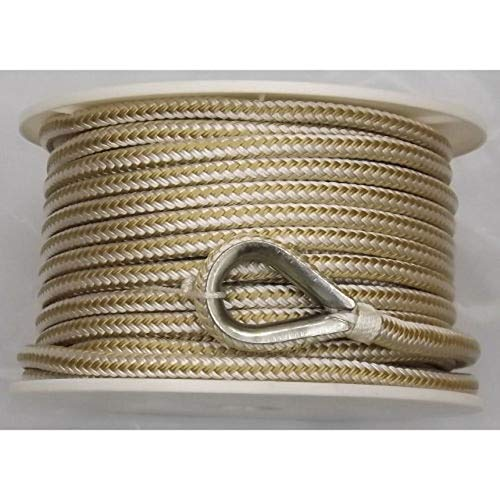 """USR Rope Nylon Double Braided Anchor Line 3/8"""" x 100' Gold and White"""